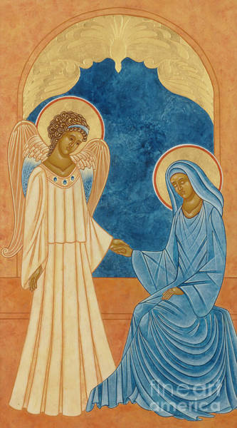 Heart Gold Painting - Annunciation Egg Tempera And Gold by Jodi Simmons