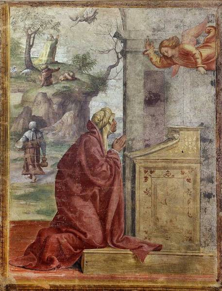Wall Art - Painting - Annunciation To Saint Anne Saint Joachim And The Angel In The Background   Bernardino Luini by Celestial Images