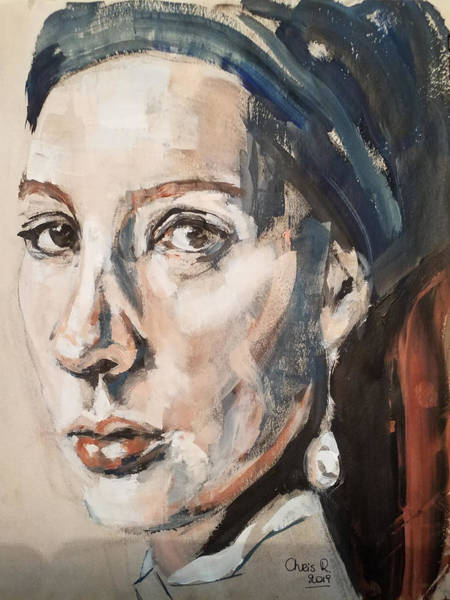 Wall Art - Painting - Another Girl With A Pearl Earring by Christel Roelandt