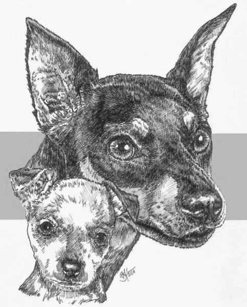Drawing - Another Miniature Pinscher And Pup by Barbara Keith