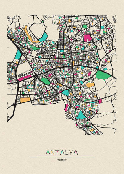 Turkey Digital Art - Antalya, Turkey City Map by Inspirowl Design