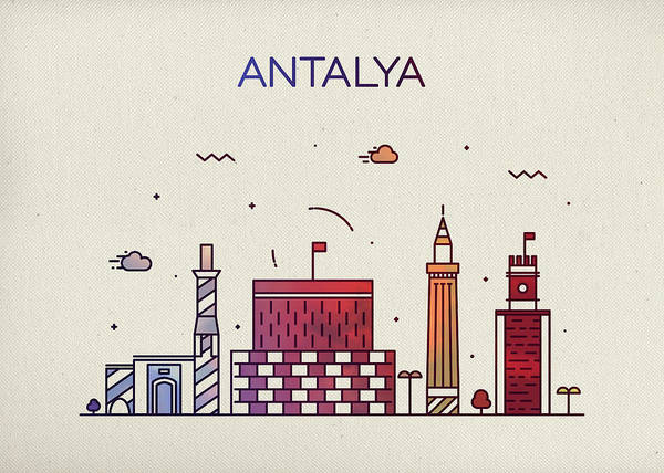 Turkish Mixed Media - Antalya Turkey City Skyline Fun Whimsical Wide Bright Version Series by Design Turnpike