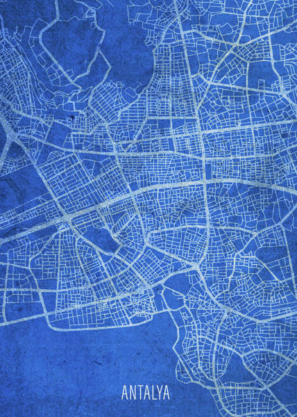 Turkish Mixed Media - Antalya Turkey City Street Map Blueprints by Design Turnpike