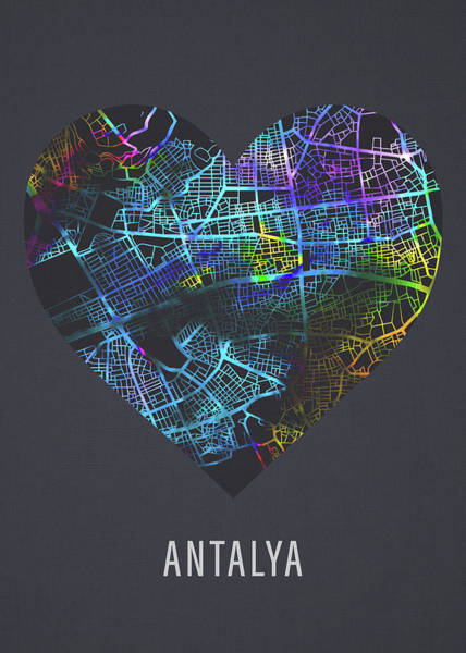 Wall Art - Mixed Media - Antalya Turkey City Street Map Heart Love Dark Mode by Design Turnpike