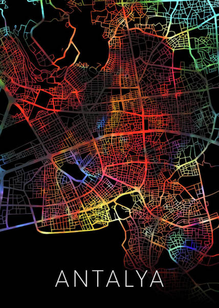 Turkish Mixed Media - Antalya Turkey Watercolor City Street Map Dark Mode by Design Turnpike