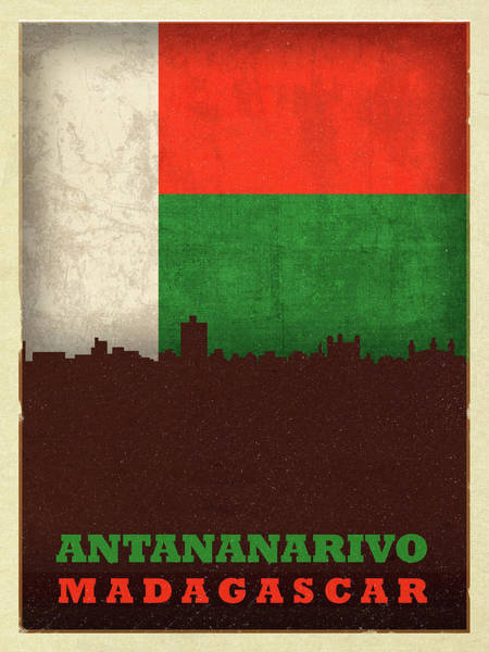 Wall Art - Mixed Media - Antananarivo Madagascar World City Flag Skyline by Design Turnpike