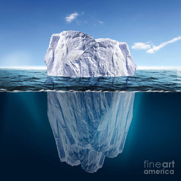 Float Wall Art - Digital Art - Antarctic Iceberg In The Ocean by Sergey Nivens