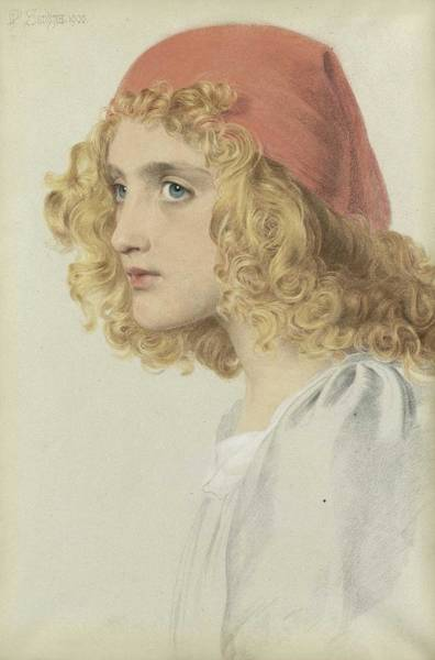 Wall Art - Painting - Anthony Frederick Augustus Sandys 1829-1904 The Red Cap by Anthony Frederick Augustus