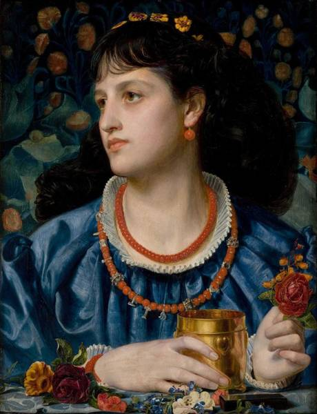 Wall Art - Painting - Anthony Frederick Sandys , 1870, Isoud And The Love Philter by Anthony Frederick Sandys