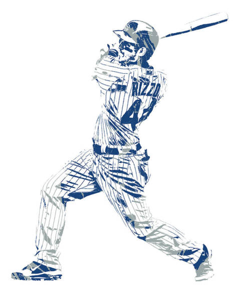 Wall Art - Mixed Media - Anthony Rizzo Chicago Cubs Pixel Art 100 by Joe Hamilton