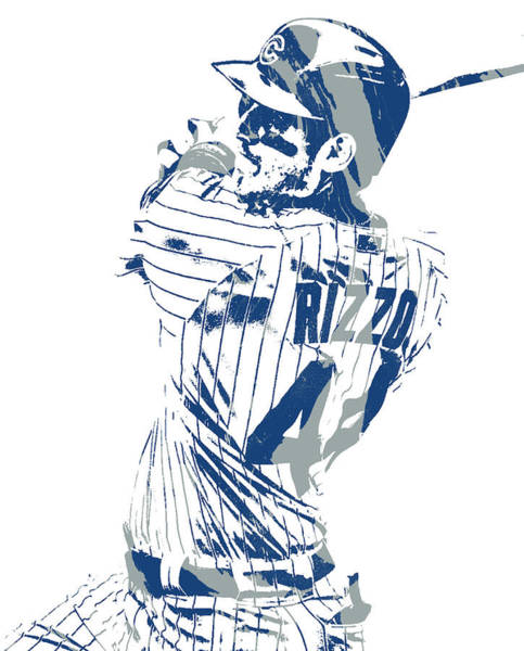 Wall Art - Mixed Media - Anthony Rizzo Chicago Cubs Pixel Art 101 by Joe Hamilton