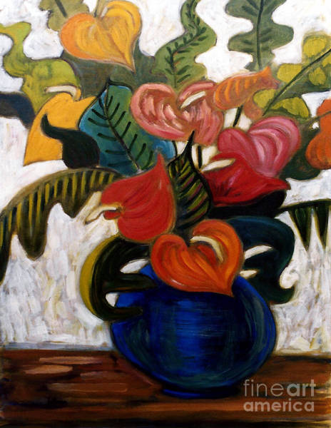 Wall Art - Painting - Anthuriums 2 by A Hillman