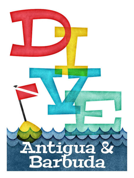 Scuba Digital Art - Antigua Barbuda Dive - Colorful Scuba by Flo Karp