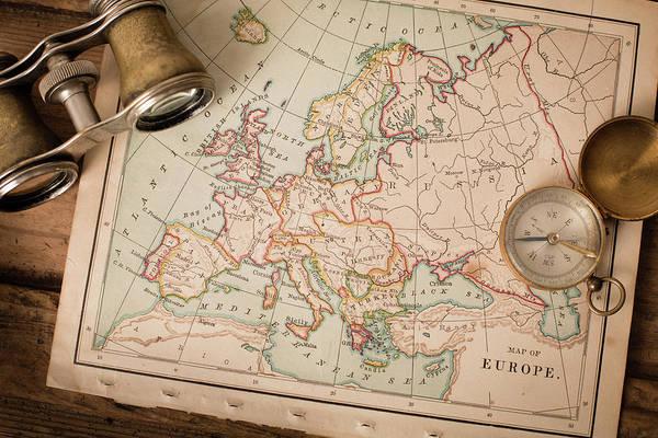 Binoculars Photograph - Antique 1870 Map Of Europe, Binoculars by Ideabug
