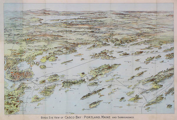 Casco Bay Digital Art - Antique Bird's Eye View Map Of Casco Bay, Portland, Maine - Old Cartographic Map - Antique Maps by Siva Ganesh