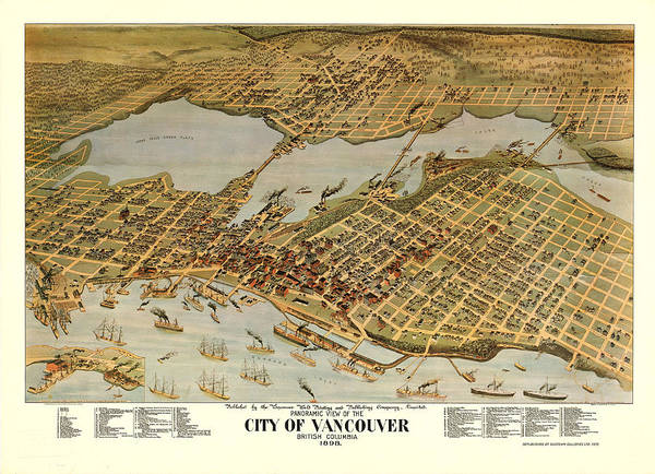 City Of Vancouver Digital Art - Antique Bird's Eye View Map Of The City Of Vancouver - Old Cartographic Map - Antique Maps by Siva Ganesh