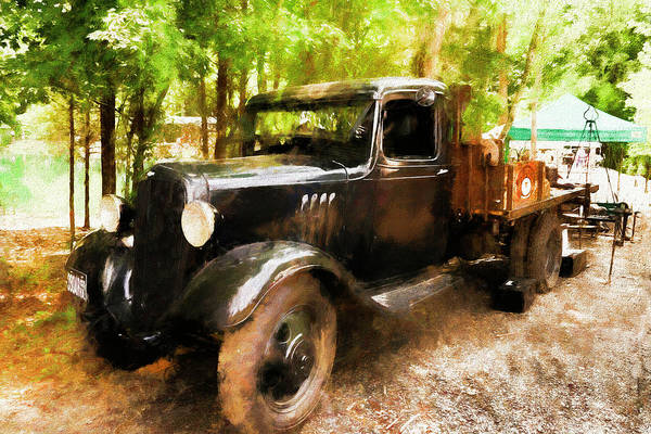 Photograph - Antique Black Truck by Ola Allen