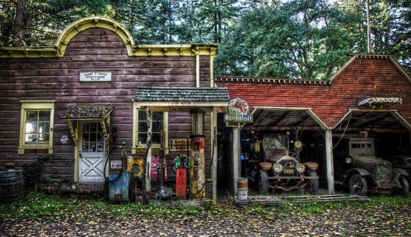 Santa Rosa Photograph - Antique Cars And Gas Station In by Bob Cornelis