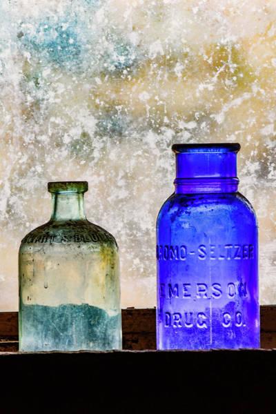 Wall Art - Photograph - Antique Colored Bottles In Window by Adam Jones