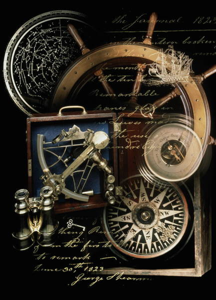 Binoculars Photograph - Antique Compass, Charts, Ships Wheel by Ralph Mercer