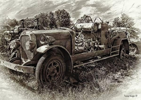 Photograph - Antique Firetruck V2 by Wesley Nesbitt