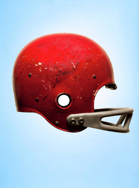 Football Helmet Photograph - Antique Football Helmet On Blue by Chris Parsons