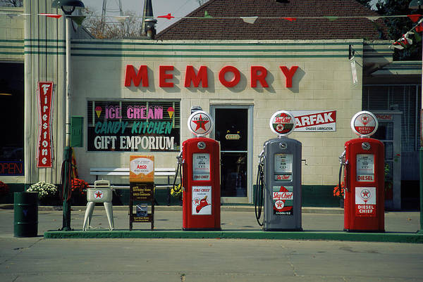 Small Town Usa Photograph - Antique Gas Pumps, Winterset, Ia by Louie And Deneve Bunde