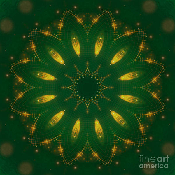 Digital Art - Antique Green And Gold Mandala by Rachel Hannah