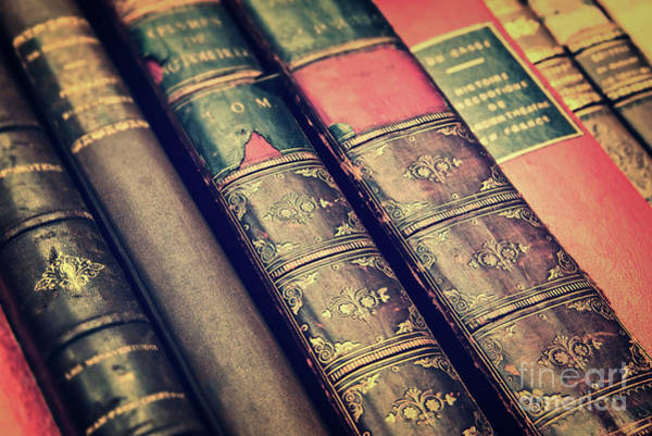 Wall Art - Photograph - Antique Leather Books by Delphimages Photo Creations