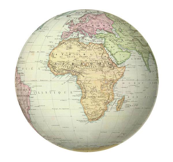 Photograph - Antique Map Of Africa. by Steve Estvanik