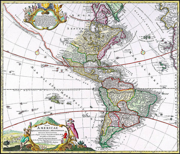 Ancient America Photograph - Antique Map Of America by Delphimages Photo Creations