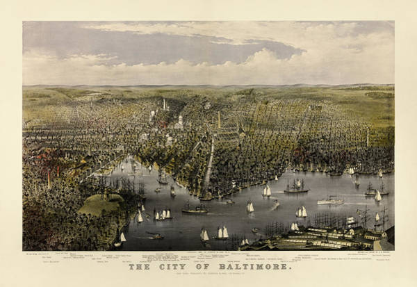 Wall Art - Drawing - Antique Map Of Baltimore, Maryland, Currier And Ives, 1880 by Blue Monocle