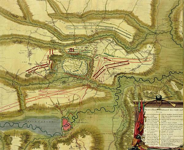 Photograph - Antique Map Of  Battle Of  Oudenaarde, Belgium  by Steve Estvanik