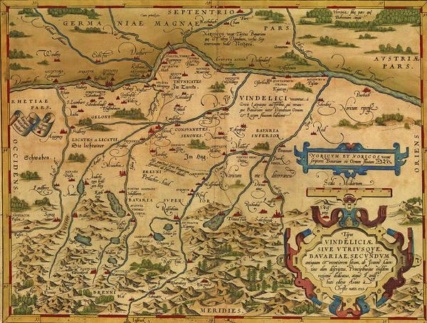 Photograph - Antique Map Of Bavaria by Steve Estvanik