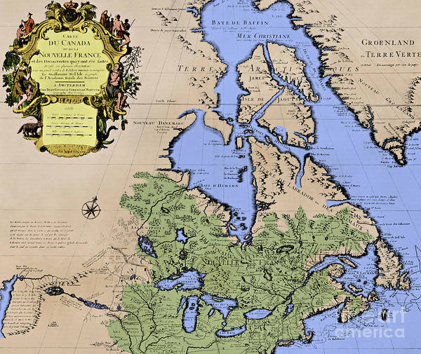 Drawing - Antique Map Of Canada Or New France by French School