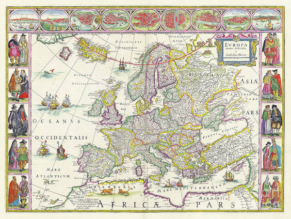 Wall Art - Photograph - Antique Map Of Europe by Delphimages Photo Creations
