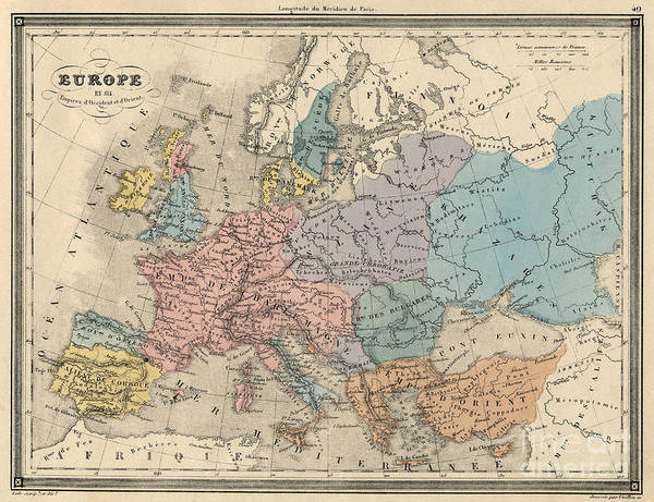 Drawing - Antique Map Of Europe In 814 by French School