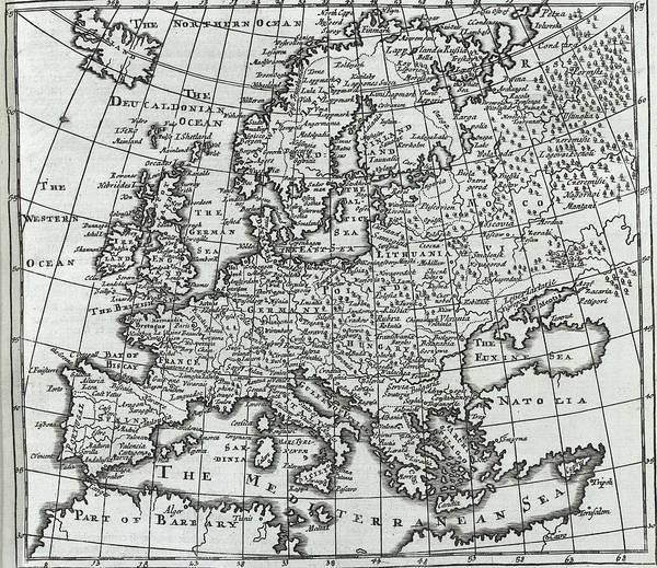 Photograph - Antique Map Of Europe by Steve Estvanik