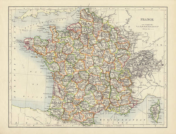 Etching Wall Art - Photograph - Antique Map Of France by Nickfree