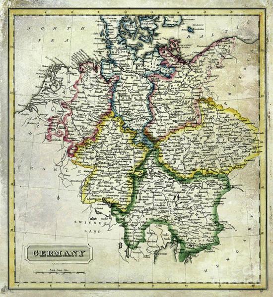 Bremen Wall Art - Photograph - Antique Map Of Germany by Jon Neidert