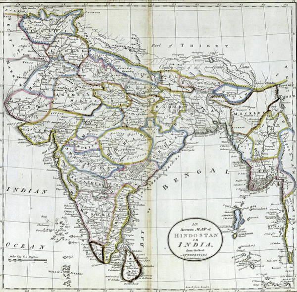 Photograph - Antique Map Of India   by Steve Estvanik
