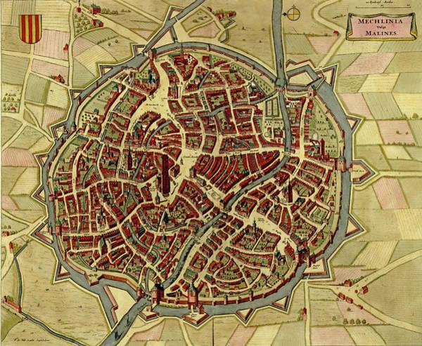 Photograph - Antique Map Of Mechelen - Malines In Belgium  by Steve Estvanik