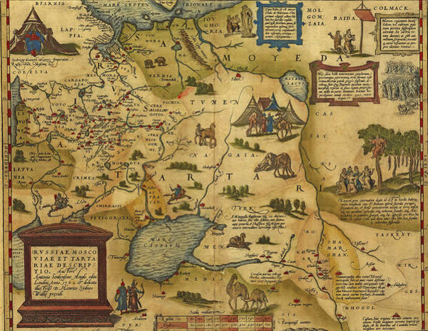 Photograph - Antique Map Of Russia And Tartary by Steve Estvanik