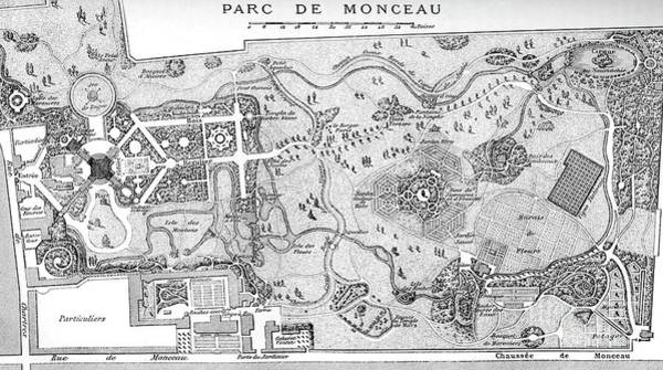 Wall Art - Drawing - Antique Map Of The Parc De Monceau, Paris by French School