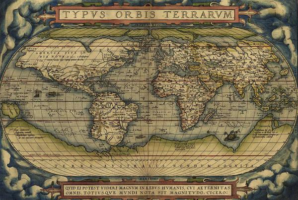Photograph - Antique Map Of The World by Steve Estvanik