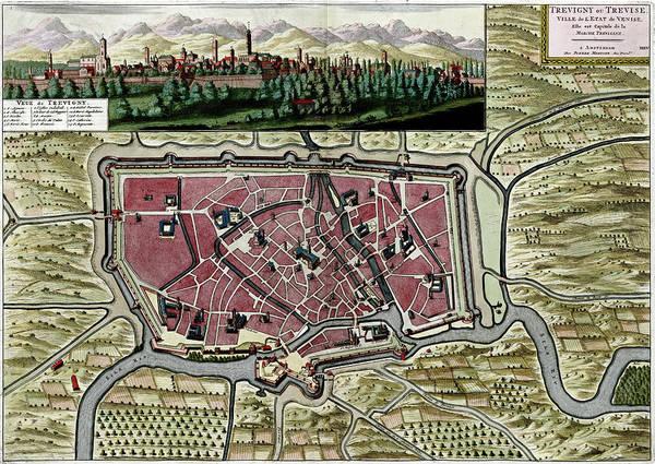 Photograph - Antique Map Of  Trevigny Trevise Near Venice, Italy by Steve Estvanik