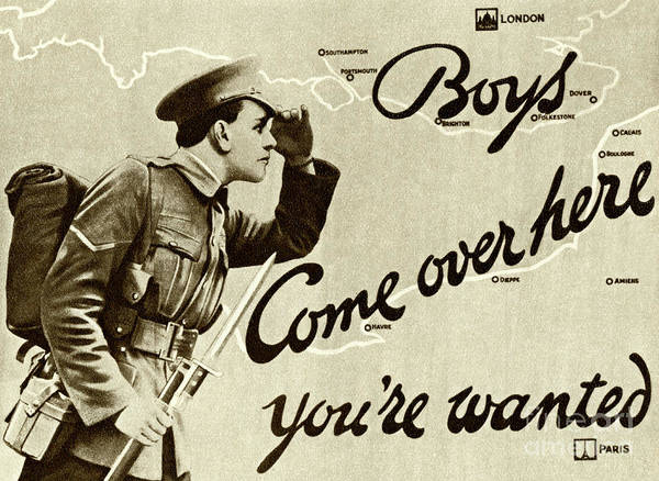Wall Art - Drawing - Antique Recruitment Poster For The British Army In The First World War, 1915 by English School