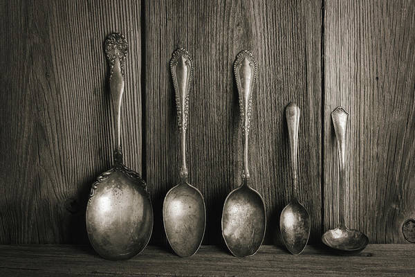 Cutlery Photograph - Antique Silver Spoons by Tom Mc Nemar