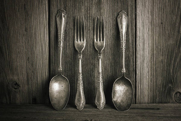 Cutlery Photograph - Antique Silver Tableware by Tom Mc Nemar