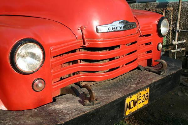Photograph - Antique Truck Red Cuba 11300502 by Rick Veldman